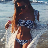 Hollow Stripe Print Strapless Beach Bikini Set Swimsuit Swimwear