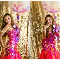 "Giant Confetti Balloon with Polka Dot Tassel or a SOLID 36"" Balloon with Circle Garland Tassel Pink, blue, red, orange"