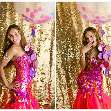 """Giant Confetti Balloon with Polka Dot Tassel or a SOLID 36"""" Balloon with Circle Garland Tassel Pink, blue, red, orange"""