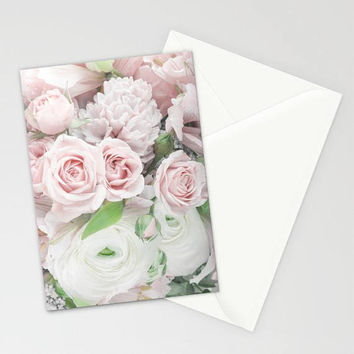 Pink Roses Stationary Set, Pink Flowers Stationary, Pink Floral Thank You Cards, Pink Stationary Cards, Blank Floral Note Cards, Floral Card