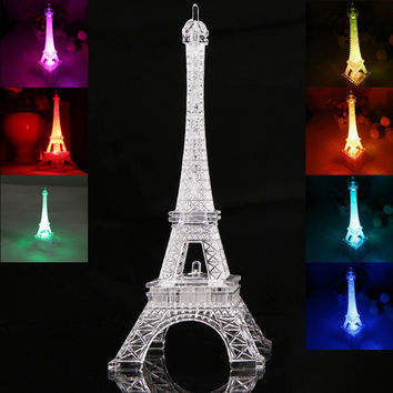 New Romantic Eiffel Tower LED Night Light Desk Wedding Bedroom Decorate Child Gift Lights Lamp