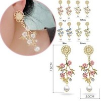 Baroque Long Drop Earring Earrings Ceramic Jewelry Accessories Flowers Branch
