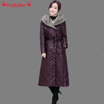 Leather Jacket Winter Coat Women 2018 New Color Plus Size Hooded Upscale Long Section Thickening Warm Female Skin Clothes Ll441