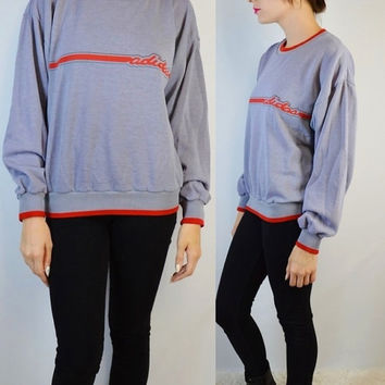 90s Adidas Sweatshirt Jumper Soft Grunge Ghetto Hip Hop Med Men Women Vintage Clothing Grey Red Stripe Retro