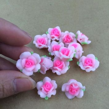 Free Shipping 100Pcs Polymer Fimo White With Hot Pink Clay Flower With Leaf Spacer Beads 15mm For Jewelry Making Craft DIY