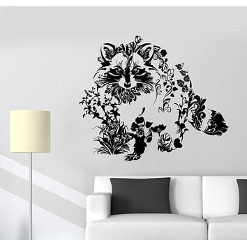 Vinyl Wall Decal Art Abstract Raccoon Animal Flowers Nature Stickers Unique Gift (1414ig)