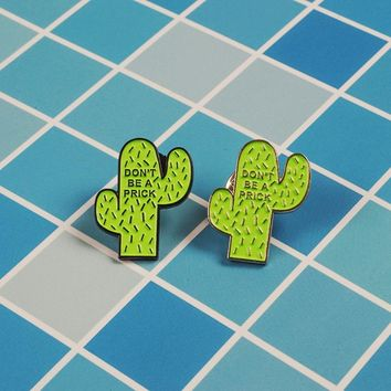 Cartoon cactus Enamel pin personification plant DO NOT BE brooch Lapel pin Jeans shirt bag Funny jewelry gift for kids friends