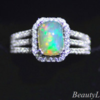 2014 Luxury Square White Fire Opal S925 Sterling Silver Finger Ring Full Zircon women wedding ring