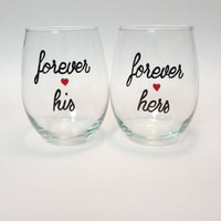 Forever his Forever hers hand-painted stemless wine glass set