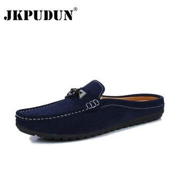 JKPUDUN Summer Men Shoes Casual Luxury Brand Mens Penny Loafers Leather Half Slipper Slip On Italian Driving Shoes Men Moccasins