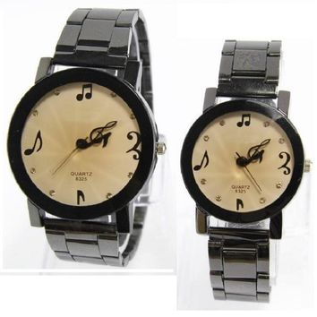 Music Notes Full Stainless Crystals Couples Wristwatch