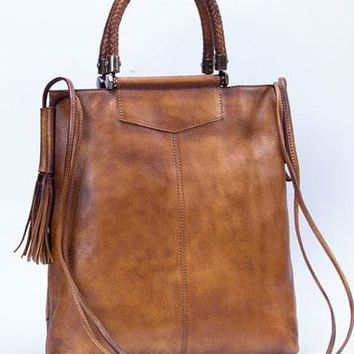 c3e1b49e46 Genuine Leather Handbag Vintage Tote Woven Tassel Crossbody Bag