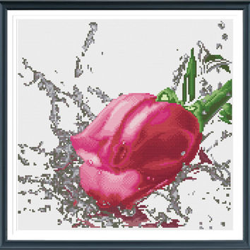 Rose Cross Stitch, Flower Cross Stitch, Rose Pattern, Flower Pattern, Rose, Cross Stitch, Flower Silhouette AprilBeeShop on Etsy, Easy Chart