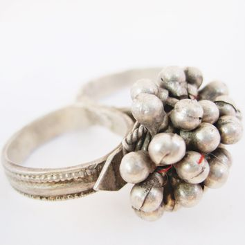 Vintage Two Finger Silver Tribal Nomadic Indian Ring from Rajasthan