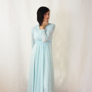 1960s Long Dress - Sheer Dress - Small Dress - Longsleeve Dress - Evening Dress - Semi Formal Dress - Baby Blue Dress - Empire Waist Dress