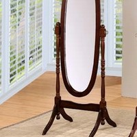 Espresso finish wood free standing cheval floor mirror