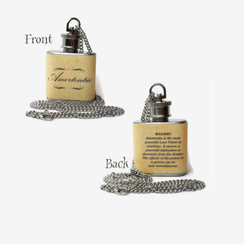 Flask Necklace 1oz - Amortentia love potion - Harry Potter -  Looks like normal necklace when flask is hidden