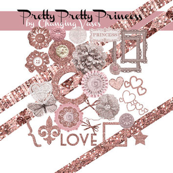 Pretty Princess Clipart Glitter Paper Digital Scrapbooking Kit Valentines Day Clip Art Love Frames Ribbons Baby Girl Flower Hearts Graphics