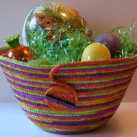 Large Coiled Fabric Basket, Bowl, Easter Basket, $30