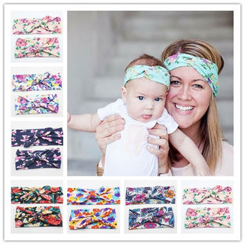 New Mommy and Me Matching Turban Headband Set Fashion Boho Floral Topknot Head Wrap for Mom and Baby Gifts 2pcs set HB010