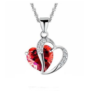 Red Marines Support Heart Gem Necklace