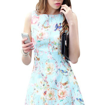 Blue Floral Printed Skater Dress