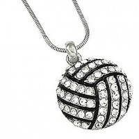 PammyJ Silvertone Clear Crystal Volleyball Charm Pendant Necklace, 18""