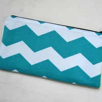 Pencil pouch, pencil case, pen case, cosmetic bag, zipper pouch, turquoise chevron