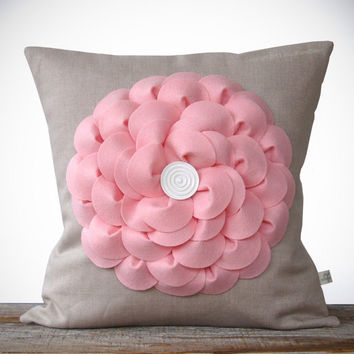 Petal Pink Flower Pillow in Natural Linen with Button Center by JillianReneDecor Pastel Spring Home Decor - Easter Baby Shower Gift for Her