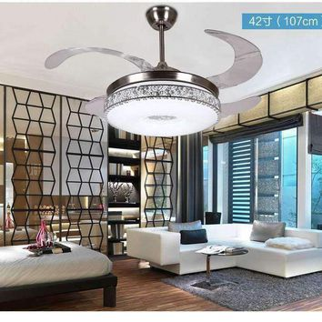 42inch ceiling chandelier fan lights frequency ceiling chandelier fans stealth LED modern minimalist living room dining room