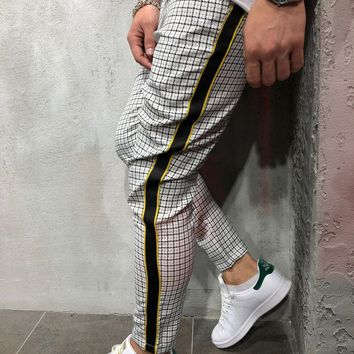 Checkered Ankle Pants with Side Stripes - White