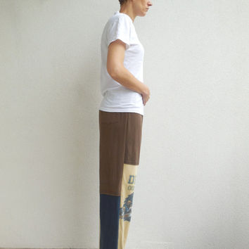 Notre Dame T Shirt Pants / Brown Blue Camel / S - M / Recycled / Upcycled / Drawstring / Cotton / Soft / Comfortable / For Him / ohzie