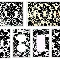Black & White Damask Switch/Outlet Cover/Phone/Cable/Rocker and more
