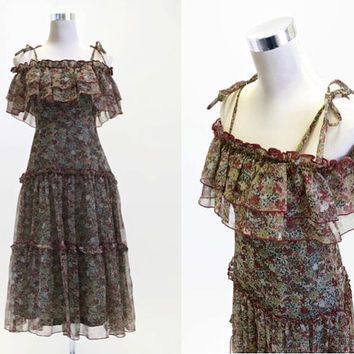 Marion Donaldson Dress - 1970's Vintage Dress - 70's Dress - Off Shoulder Gypsy Ruffle Festival Dress