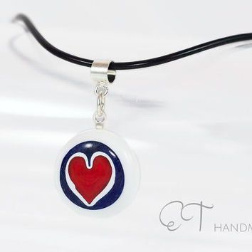 Heart millefiori glass pendant-red & white Murano glass murrini and Sterling Silver Handmade italian artisan pendant-casual pendant necklace