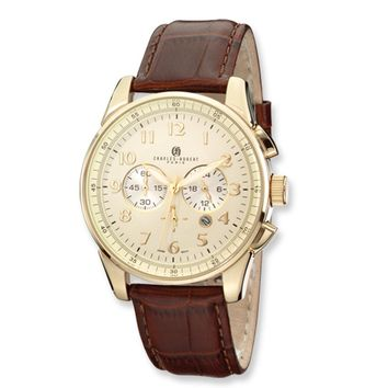 Men's, Charles Hubert, Gold-Plated Chronograph Watch