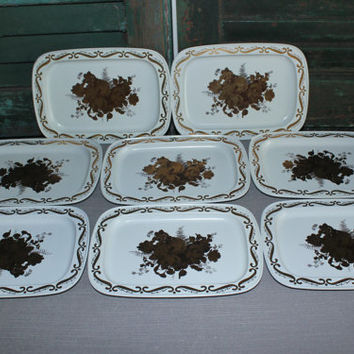 Small white with gold flower tin trays (Set of 8), serving tray, snack tray, catchall, vintage tray, flower decor, vintage tins