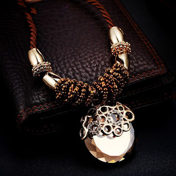 Shiny Gift New Arrival Jewelry Crystal Sweater Chain Stylish Vintage Korean Accessory Necklace [10231543815]