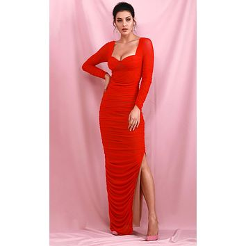 Once In My Life Red Mesh Long Sleeve Sweetheart Neckline Ruched Side Slit Bodycon Maxi Dress