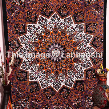 Twin Hippie Star Tapestries , Psychedelic Tapestry ,Sun and Moon Tapestry,Star Mandala tapestries, Throw Bedspread Queen Bed Dorm Decor