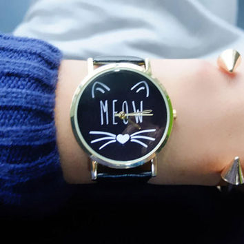 Cute Cat MEOW Leather Watch