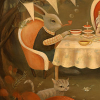 Alice in Wonderland Art from The Black Apple - The Mad Tea Party Print 14x11