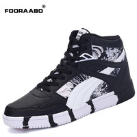2017 New Mens Casual Shoes Flats Autumn Luxury Breathable Unisex Hip Hop High Top Flats Shoes PU Leather Shoes Zapatilla Hombre