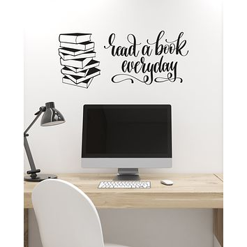 Vinyl Wall Decal Reader Quote Stack of Books Library Reading Room Corner Stickers Mural (ig6189)