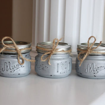 Shabby Chic Silver Candles, Silver Wedding Decor, Silver Centerpiece, Silver Candles, Scented Candles, rustic wedding decor, Wedding Favors