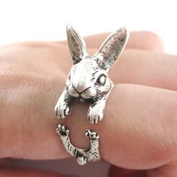3D Realistic Bunny Rabbit Hare Shaped Animal Wrap Ring in Silver | US Sizes 6 to 9