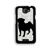 Pug On Dictionary Retro Vintage - Protective Designer BLACK Case - Fits HTC One X / One X+