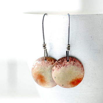 Enameled Copper Earrings, Cream and Red Earrings, Geometric Earrings, Circle Earrings, Rustic Earrings, Copper, Silver, Dangle Drop Earring