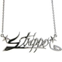 Stars Stripper Nameplate Pendant Necklace