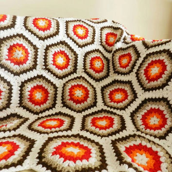 Retro Style Throw, Granny Crochet, Hexagons, 70's Blanket, Afghan, Geometric Design,Living Room, Colorful Home Decor, Crochet Blanket,